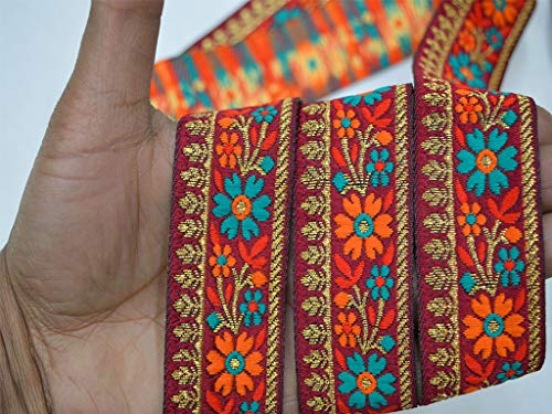 Machine Stitched Red Wholesale Decorative Embellishments Crafting Ribbon Christmas Supplies Costume Sewing Laces Home Decor Orange and Metallic Gold Weaving Brocade Jacquard Trim by 9 Yard