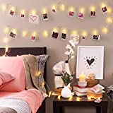 Photo Clip String Lights (16.4ft), 40 LED & Remote, Battery Powered - Gift for Teen Girl - Cute Teenage VSCO Stuff as Room Decor - Warm White Fairy Lights for Bedroom - Unique Dorm Decoration