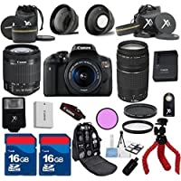 Canon T6i Camera with 18-55mm IS STM + 75-300mm III Zoom + 3Pc Filter Kit + Wide Angle + Telephoto + Spider Tripod + 2pcs 16GB Memory Cards + 22pc Kit - International Version Key Pieces Review Image