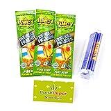 Juicy Jay's Hemp Wraps Tropical Passion Bundle - 6 Wraps + Roller + Dank Paper Scoop Card