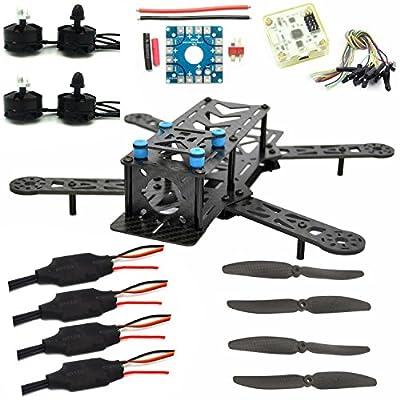 LHI 250mm Pro Pure Carbon Fiber Quadcopter Frame Kit + CC3D Flight Controller + MT2204 2300KV Motor + Simonk 12A ESC + 6030 CF Propeller Prop from Lighting Hobby