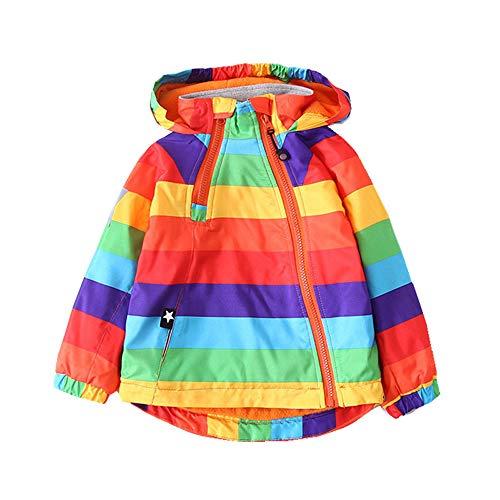 Geetobby Kids Active Windbreaker Rainbow Striped Plus Velvet Hooded Jacket Coat