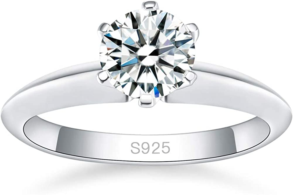 AVECON Classic 3.5 Carat Brillant Round Cut 5A Cubic Zirconia 925 Sterling Silver Solitaire Engagement Wedding Ring for Women Size 5-9