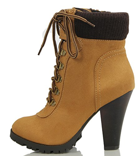 Soda Women's Rouge Faux Suede Lace Up Combat Chic Work Boot High Heel Ankle Bootie