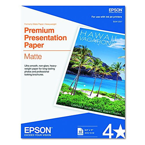 Premium Presentation Paper Letter - Epson S041257 Premium Matte Presentation Paper, 45 lbs., 8-1/2 x 11 (Pack of 50 Sheets)