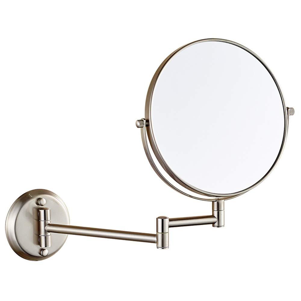 PUDDINGY® Specchio Ingranditore per Il Bagno A Parete, Specchio da Trucco A Doppia Faccia Fissato al Muro, Girevole, Bagno E Camera da Letto,4,6' 3X 6 3X