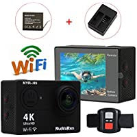 Action Camera NYR-H9 WiFi Ultra HD 4K/25FPS 1080P/60fps 720P/120fps 12MP 170 Degree Wide Angle Mini CAR Camcorder Waterproof Video Sports Cam (Black)