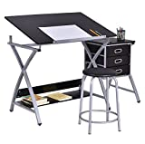 Black Drawing Desk With Padded Stool Adjustable Foldable Drafting Painting Table Art Craft Hobby Studio Architect Work Durable Heavy Duty Steel 3 Drawers For Tools Storage Under Desktop Shelf