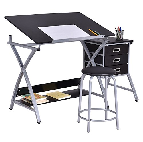 Black Drawing Desk With Padded Stool Adjustable Foldable Drafting Painting Table Art Craft Hobby Studio Architect Work Durable Heavy Duty Steel 3 Drawers For Tools Storage Under Desktop Shelf by HPW