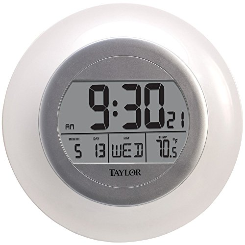 Taylor 1750 Atomic Wall Clock with Thermometer electronic...