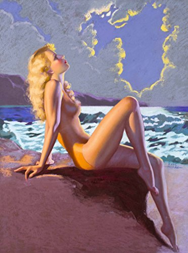 A SLICE IN TIME 1940s Pin-Up Girl Eve-N-Tide Nude Girl on the Beach at Sundown Picture Poster Print Art Vintage Pin Up. Poster measures 10 x 13.5 inches -