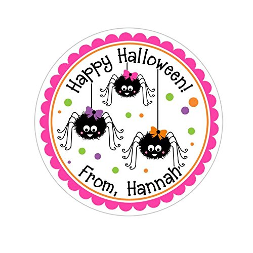 Personalized Customized Halloween Party Favor Thank You Stickers - Girly Spiders - Round Labels - Choose Your Size