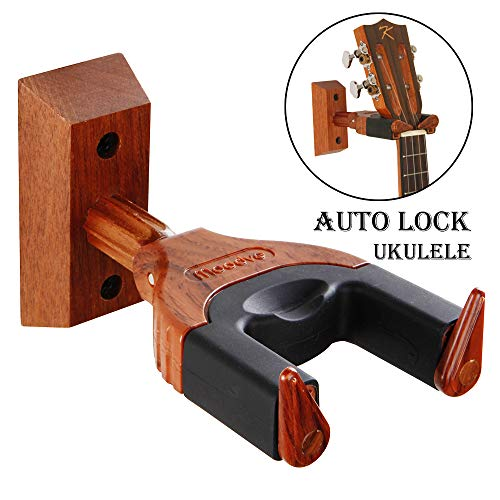 Ukulele Wall Mount, Auto Lock Ukulele Hanger, Hard Wood Base Ukulele Hangers For Wall, Ukulele/Violin/Banjo/Mandolin wall Stand (Mandolin Hanger)