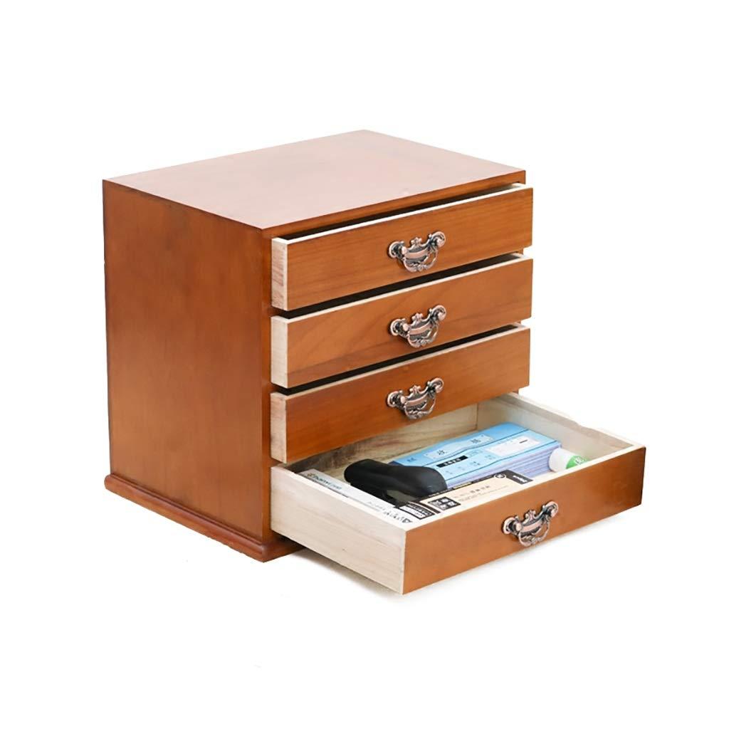 A4 Desktop Wooden File Cabinet Drawer Data Cabinet File Storage Cabinet File Box Office Supplies 37.5x26x33cm