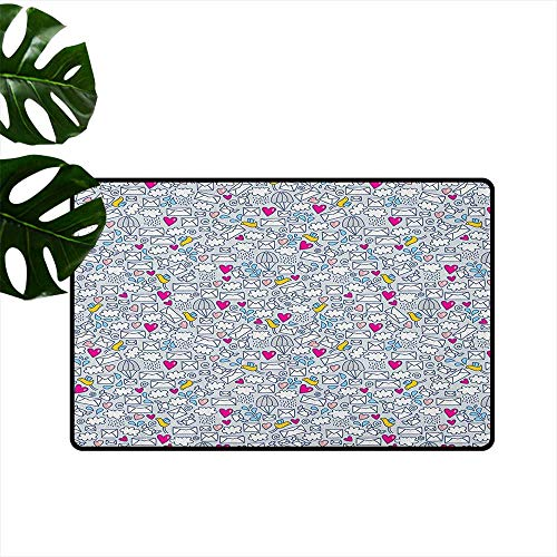 LilyDecorH Doodle,Cute doormats Message Posting Theme Envelopes Mails Carrier Pigeons Pen Pals Ancient Communication 24