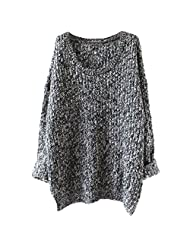 Womens Plus Size Long Cable Knit Pullover Sweater Chunky Tops