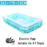 LQQGXL,Bath Large Inflatable Bathtub / Swimming Pool Child / Infant / Adult / Family Sea Water Ball Suitable for 5-7 people (262 170 53cm) Inflatable bathtub