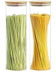 Praknu Voorraaddozen voor spaghetti set van 2 - luchtdicht met deksel - vaatwasmachinebestendig - hoog 30 cm