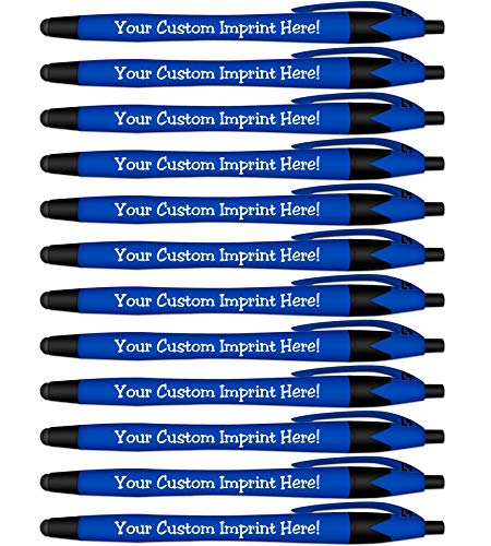 Ballpoint Soft Touch Personalized Ink Pens with Stylus Tip - The Jewel - Click action - Custom - Black writing - Printed Name - Imprinted - Your Logo/Message - FREE PERSONALIZATION- 12 Pens/Box (Blue) -
