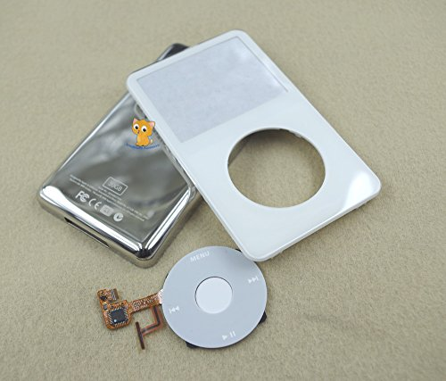 (Full Set White Front Faceplate Fascia Back Housing Case Cover Shell White Clickwheel Flex Central Button Key + Tools for Ipod 5th Gen Video 30gb)