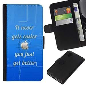 """Be-Star la tarjeta de Cr¨¦dito Slots PU Funda de cuero Monedero caso cubierta de piel Para LG Nexus 5 D820 D821 ( M¨¢s f¨¢cil nunca mejora inspirado de la cita"""" )"""