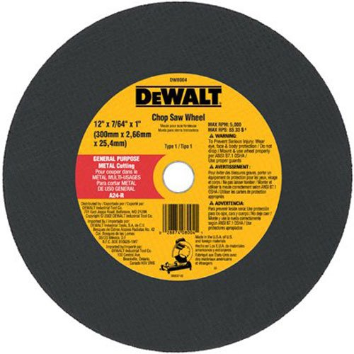 B00004RHIM DeWalt DW8004 12 x 7/64 x 1 General Purpose Chop Saw Wheel - Metal 510dQuwpX5L