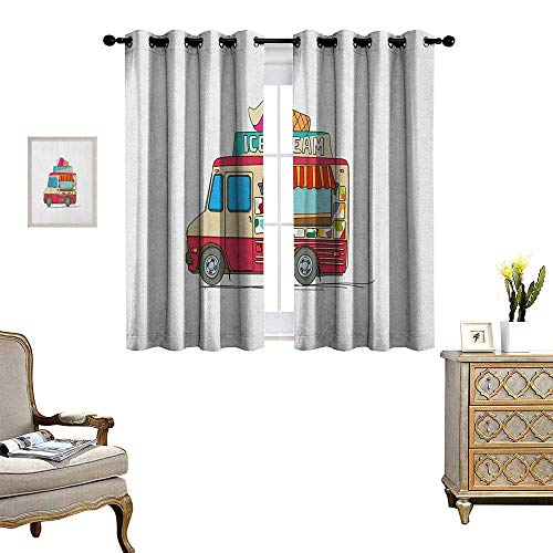 - Warm Family Truck Thermal Insulating Blackout Curtain Ice Cream Truck Colorful Illustration Business Idea Cartoon Style Cutaway Vehicle Patterned Drape for Glass Door W63 x L45 Multicolor