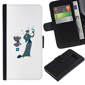 iBinBang / Flip Funda de Cuero Case Cover - Cachemira del trullo Moda Blanca - Samsung Galaxy S6 SM-G920