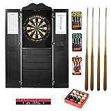 Game Room Guys Steel Tip Dart Board and Billiard Cue Cabinet Package-Black