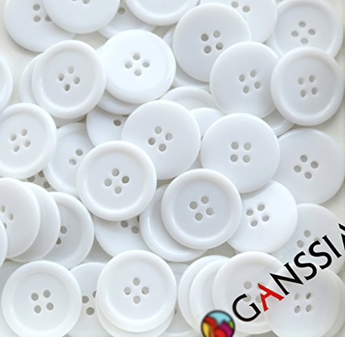 GANSSIA 1'' (25mm) Sewing Flatback White Buttons Colored Pack of 50