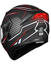 ILM Motorcycle Dual Visor Flip up Modular Full Face Helmet DOT with 7 Colors (Large, Black Red - Led)