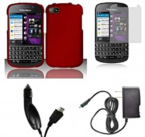 Bloutina BlackBerry Q10 - Premium Accessory Kit - Red Hard Cover Case + ATOM LED Keychain Light + Screen Protector + Wall...