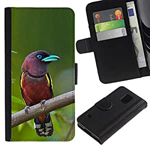 All Phone Most Case / Oferta Especial Cáscara Funda de cuero Monedero Cubierta de proteccion Caso / Wallet Case for Samsung Galaxy S5 V SM-G900 // Madagascar pájaro tropical ornitología verde