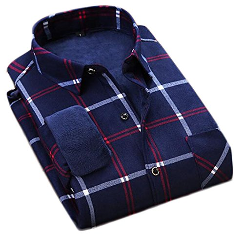 today-UK Mens Thicken Warm Plaid Long Sleeve Button Down Casual Shirts 4