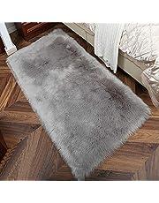TopSpitgo Imitatie-lamsvel, wit tapijt, hoogpolige, superzachte lamsvacht, vloerkleed voor woonkamer, slaapkamer, kinderkamer, imitatiebont voor bed, stoel, bank, 90 x 60 cm