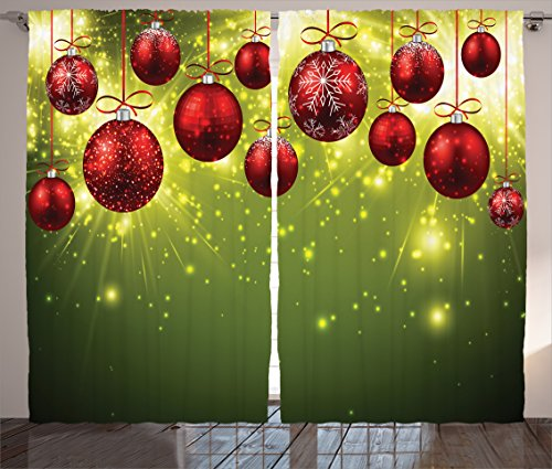 Christmas Curtain Green Christmas Decorations Bedroom by Ambesonne, Vibrant New Year Design with Psychedelic Digital Light Effects Print and Baubles, Living Room 2 Panels Set, 108 X 84 Inches, Red