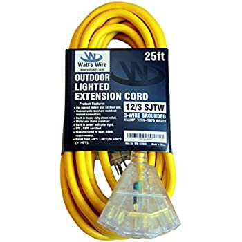 25 foot 12 3 gfci ground fault circuit interrupter extension cord Wiring Multiple Recessed Lighting 25 ft 12 gauge heavy duty indoor outdoor sjtw lighted triple outlet extension cord by watts wire yellow 25 foot 12 awg copper lighted multi outlet
