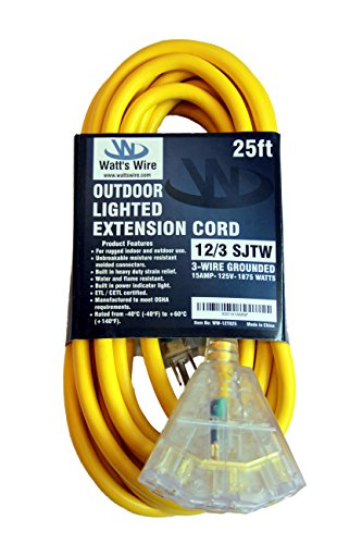 25-ft 12/3 Heavy Duty 3-Outlet Lighted SJTW Indoor/Outdoor Extension Cord by Watt's Wire - Yellow 25' 12-Gauge Grounded 15-Amp Three-Prong Power-Cord (25 foot 12-Awg)