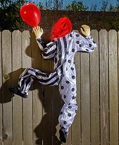 Tamie's Tees And Things Climbing Life Size Halloween Clown Scales Wall Fence Outdoor Spooky Creepy Holiday Decor