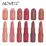 Matte Lipstick, ALIVER 6 Colors Lipstick Set, Long Lasting Lipstick, Nude and Natural Dark Matte Lipstick Non-Stick Cup for Lips Makeup