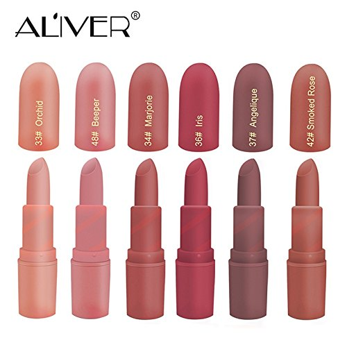 Matte Lipstick, ALIVER 6 Colors Lipstick Set, Long Lasting Lipstick, Nude and Natural Dark Matte Lipstick Non-Stick Cup for Lips Makeup by ALIVER