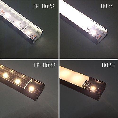 LightingWill 6.6ft/2M 25Pack(164ft/50M) 9x17mm Black U Shape LED Aluminum Channel System Internal width 12mm with White Diffuser Cover Cover, End Caps and Mounting Clips for LED Strip Light -U02B2M25 by LightingWill (Image #4)