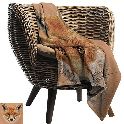 - EwaskyOnline Fox Comfort Blanket Cute Fluffy Face of Forest Fox Young Baby Mammal Predator Canine Vixen Bedding Throw, or Blanket Sheet 84