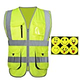 High Visibility Reflective Safety Vest With Reflective Smiley face stickers | Fluorescent Yellow safety vest with Multi Pocket | Reflective Workwear | ANSI Standard | Unisex (L, FLuorescent Yellow)
