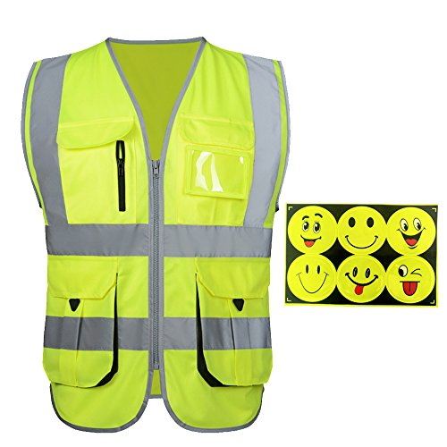 High Visibility Reflective Safety Vest With Reflective Smiley face stickers | Fluorescent Yellow safety vest with Multi Pocket | Reflective Workwear | ANSI Standard | Unisex (L, FLuorescent Yellow) by SFVEST-1002