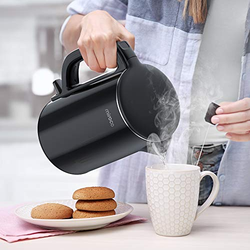 Electric Kettle, Miroco 1.5L Double Wall 100% Stainless Steel BPA-Free Cool Touch Tea Kettle with Overheating Protection, Cordless with Auto Shut-Off & Boil Dry Protection, 1500W Fast Boiling Heater by Miroco (Image #8)