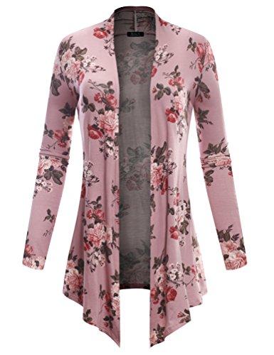 (BH B.I.L.Y USA Women's Open Front Drape Hem Lightweight Cardigan Floral Print 6532 Dark Pink)