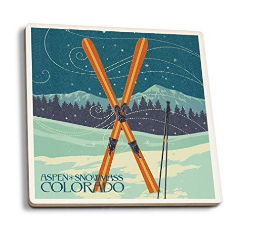Aspen, Snowmass, Colorado - Crossed Skis Letterpress (Set of 4 Ceramic Coasters - Cork-Backed, Absorbent)