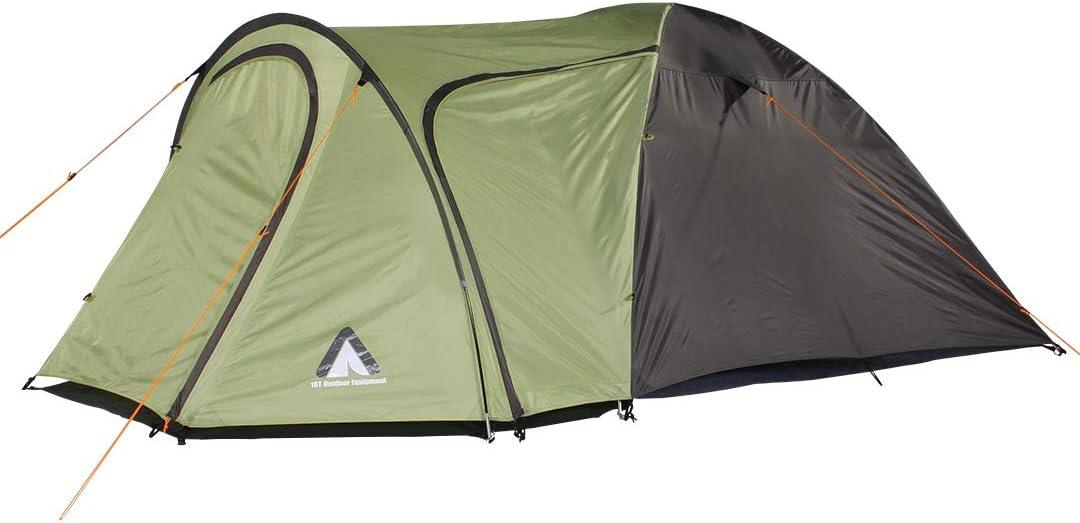 10T Outdoor Equipment Unisex Adult Jumbuck Beechnut 4 Man Dome Tent Waterproof Camping Tent 5000mm Igloo Tent with Living Room Green