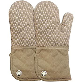 Heat Resistant Kitchen Oven Mitts 500 Degrees With Non-Slip Silicone Printed Set of 2 Oven Gloves for BBQ Cooking set Baking Grilling Barbecue Microwave Machine Washable Women and Man (Brown, Printed)